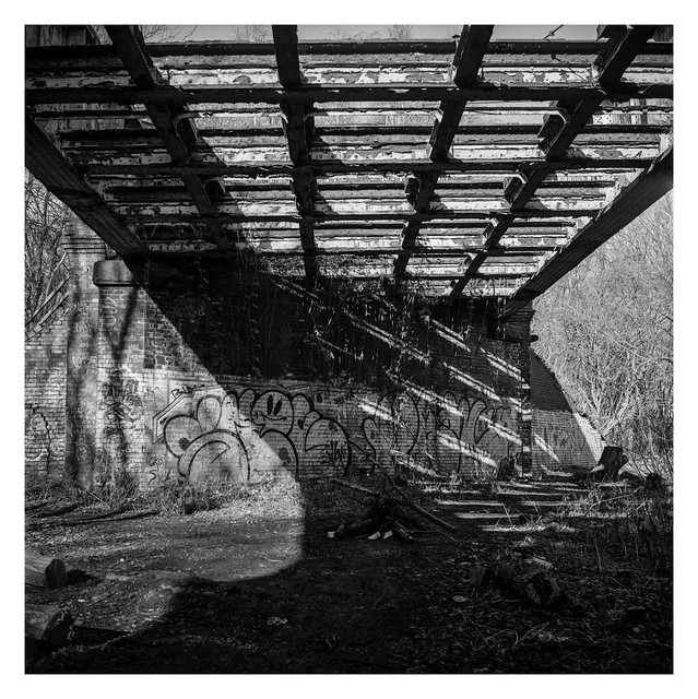 Beneath a disused bridge