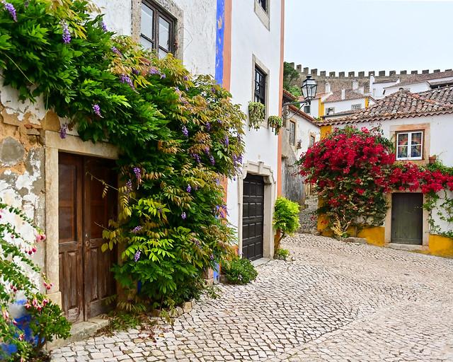 Obidos, el pueblo medieval repleto de flores con la muralla al fondo