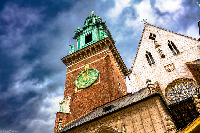 [Explored 2/19/2021] Clock and tower of the front of Wawel Cathedral, Wawel Castle, Krakow, Poland.  943-Edit