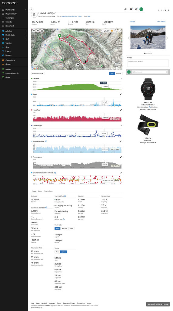 Počítačové rozhraní Garmin Connect přehledně zobrazí až neuvěřitelný soubor parametrů
