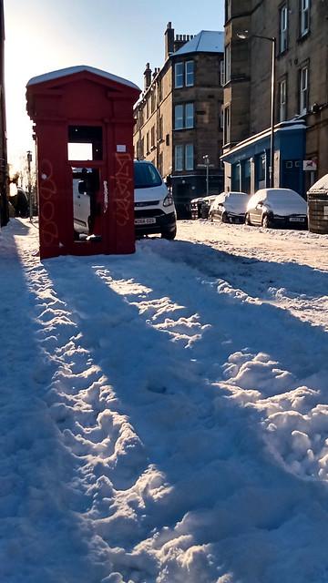 Skeletal TARDIS and Long Shadows on the Snow