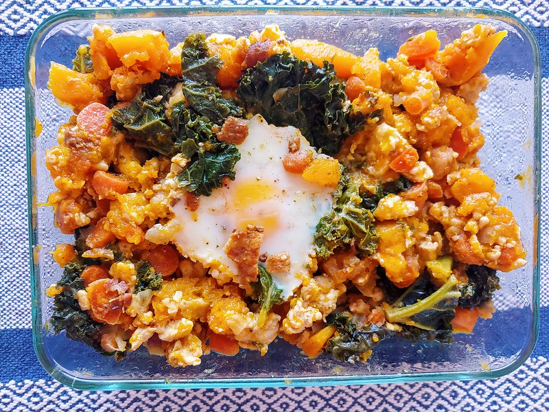 Squash Hash with Kale and Baked Eggs and Chicken