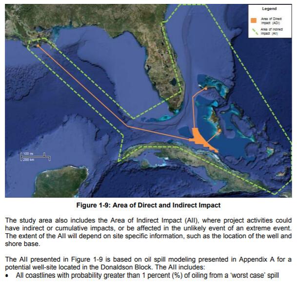 Bahamas Petroleum Company Donaldson well Area of Impact
