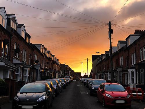 ni northern ireland ulster irish belfast capital city dunluceavenue street sunrise morning daybreak