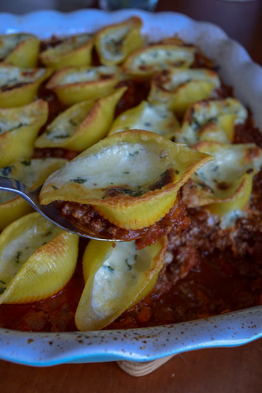 pâtes farcies sauce bolognaise