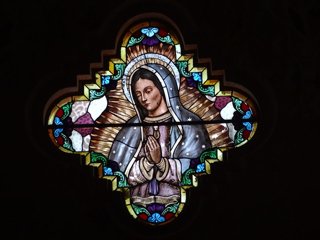 Stained-Glass Window of Virgin Mary - Our Lady of Carmen Church - Catemaco - Veracruz - Mexico