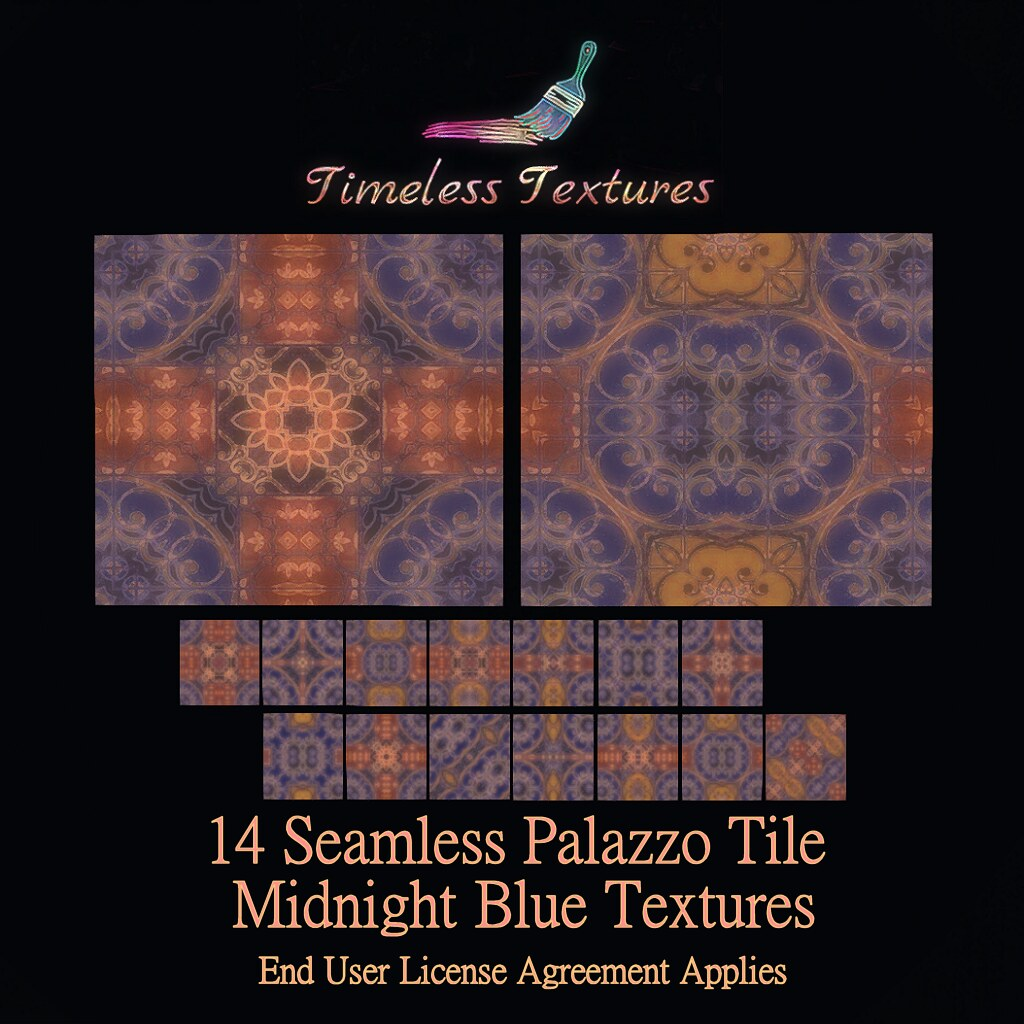 TT 14 Seamless Palazzo Tile Midnight Blue Timeless Textures