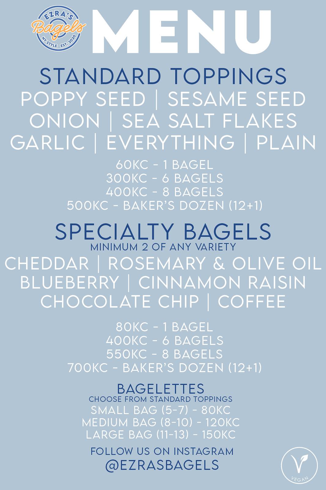 bagels menu