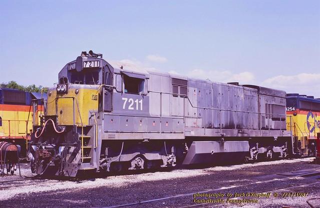 CSX 7211, ex-LN 1481, U30C, Connellsville, PA. 7-27-1987