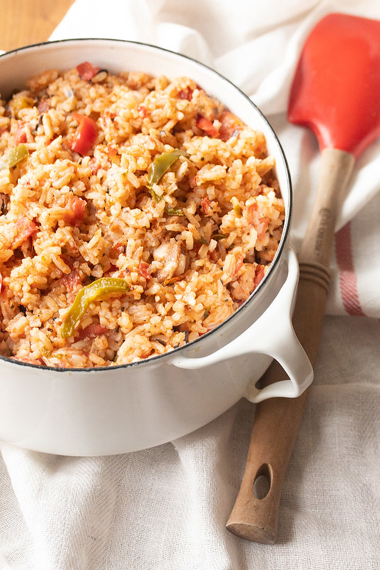 Creole Tomato Rice and Sausage Skillet