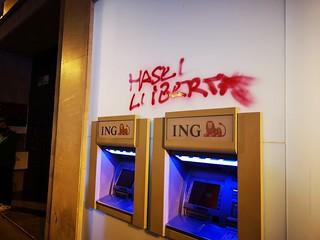 Pintada en favor de la libertad de Pablo Hasél. Foto: Marcos Calvo