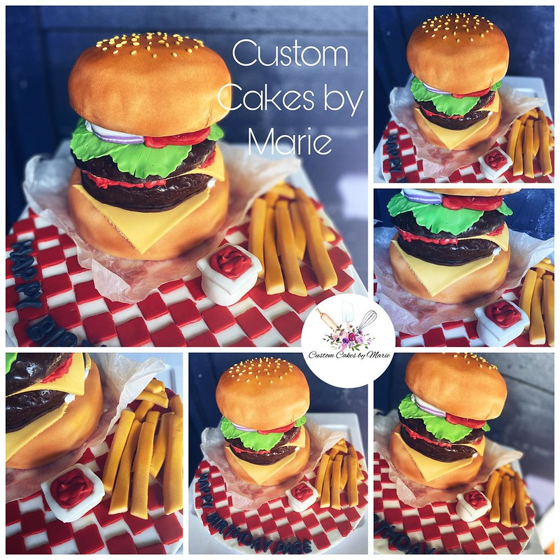 3D Hamburger Cake from Custom Cakes by Marie