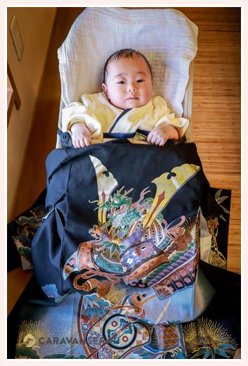 お宮参りの記念写真 3か月の男の子