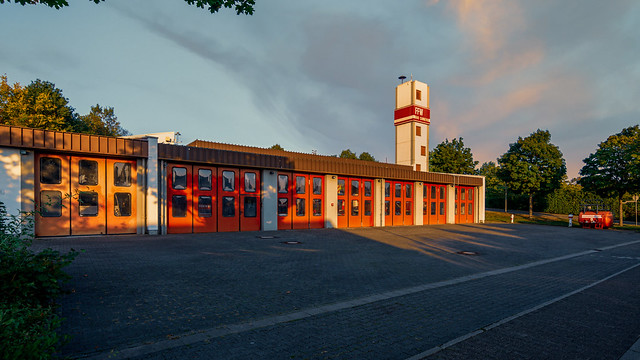 Sunset at the apparatus house of the volunteer fire department Bad Camberg
