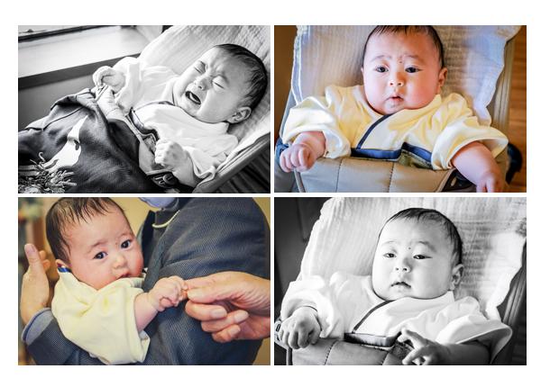 お宮参り&お食い初めの日の赤ちゃん 男の子 袴ロンパースを着て