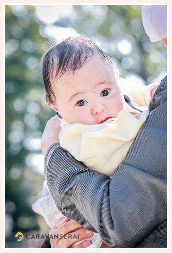 お宮参り 3か月の男の子 衣装は袴ロンパース