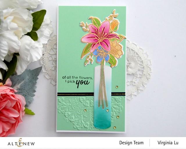Altenew-Our Friendship Blooms Stamp & Die Bundle-Ornamental Feature Embossing Folder-NavyGoldTrim Washi Tape-003