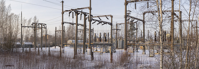improved old 3kV DC electric supply substation of October railways located in St Petersburg suburbs. Note the presence of the railway tracks obviously for mobile train-based substation.
