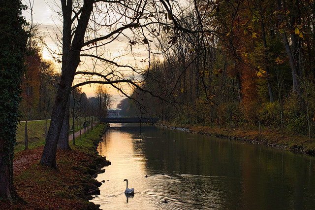 Mangfallkanal im Herbst, Rosenheim