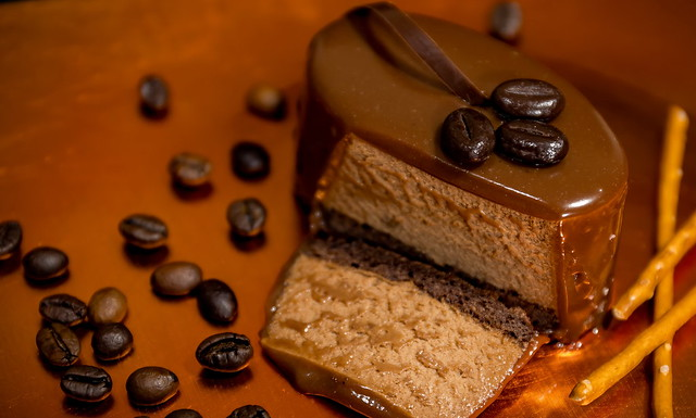 Coffee and cocoa mousse dessert, with chocolate glaze