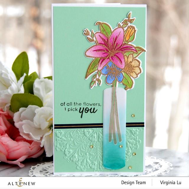 Altenew-Our Friendship Blooms Stamp & Die Bundle-Ornamental Feature Embossing Folder-NavyGoldTrim Washi Tape