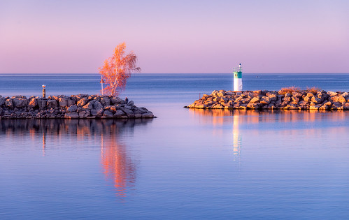 habour harbor breakwall sunlight sunset glow reflection jordanharbour golden tree entrance opening calm serene water lake waterscape