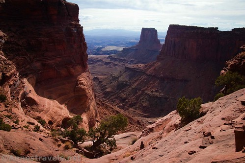 Views down Lathrop Canyon to Airport Tower and beyond, Canyonlands National Park, Utah