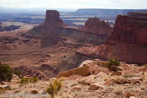 Airport Tower (on the left) and other rock formations along the Lathrop Trail, Canyonlands National Park, Utah