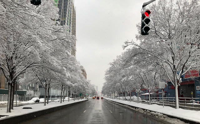 Snow covered cityscape - Chelsea, New York City