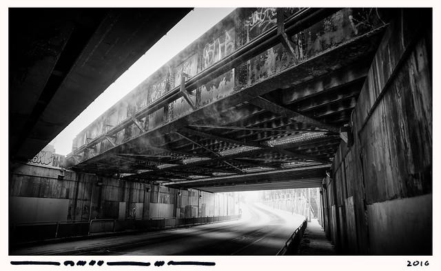 Martin Loeffler, 2016, Parkdale — Blowing Snow Under Rusting Bridge