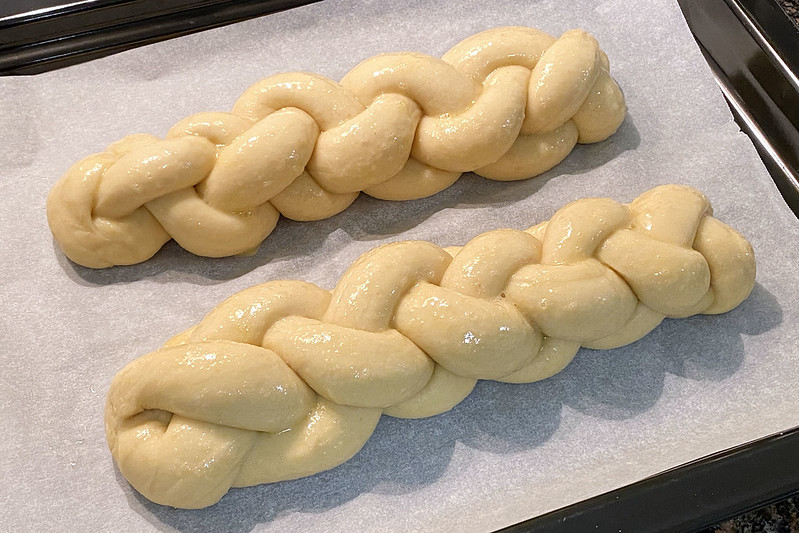 Making sourdough challah
