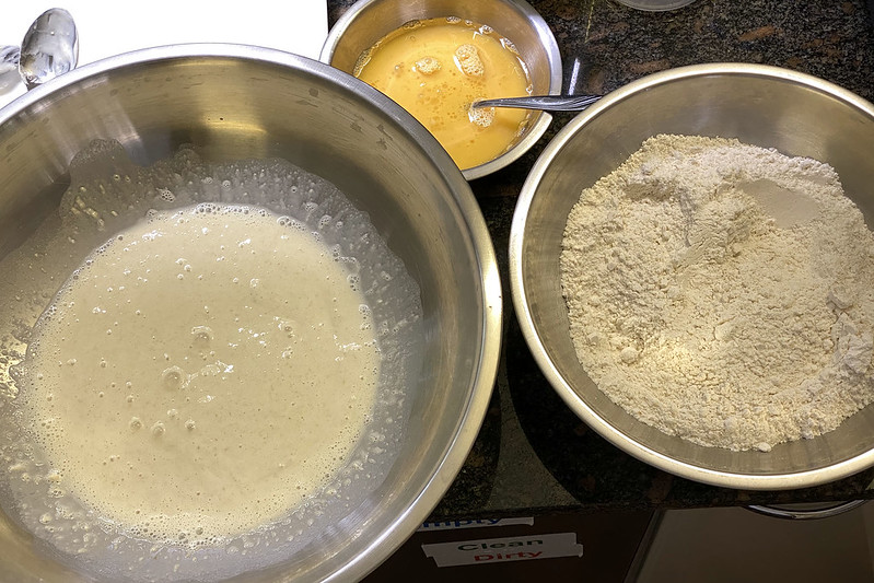 Making sourdough challah