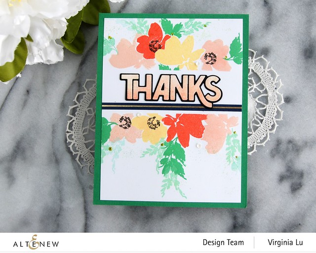 Altenew-Billowing Blossoms Stamp Set-Bold Thanks Die Set -Navy Gold Trim Washi Tape -002