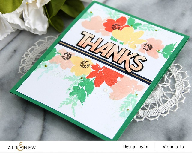 Altenew-Billowing Blossoms Stamp Set-Bold Thanks Die Set -Navy Gold Trim Washi Tape -001