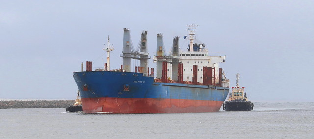 BULK CARRIER 'ASIA PEARL VII' ENTRANCE CHANNEL - PORT OF NEWCASTLE 18th Feb 2021.