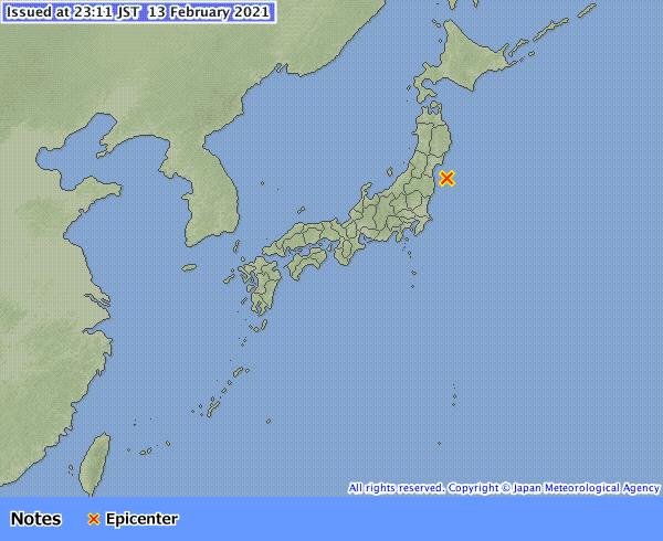 本月13日晚間日本福島縣外海卻發生規模7.3的強震。圖片來源:日本氣象廳(JMA)