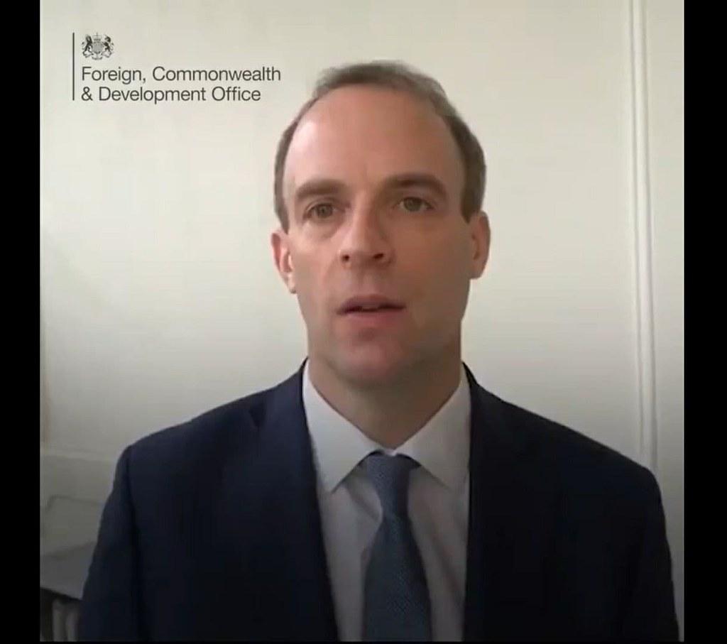 โดมินิก ราบ (Dominic Raab) รัฐมนตรีกระทรวงต่างประเทศและเครือจักรภพแห่งสหราชอาณาจักร
