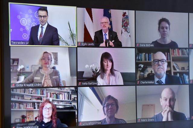 """19.02.2021. Valsts prezidents Egils Levits atklāj tiešsaistes konferenci par pašvaldību sadarbību ar sociālajiem uzņēmumiem """"Kāpēc mums to vajag?"""""""