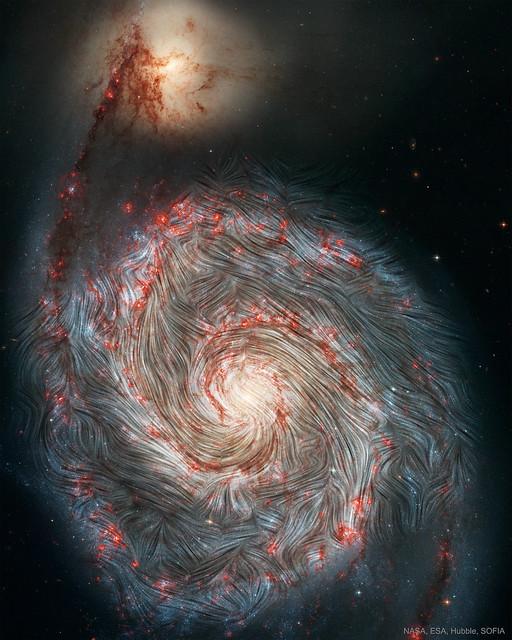 VCSE - AZ M51 mágneses tere a SOFIA mérései alapján - Forrás: APOD