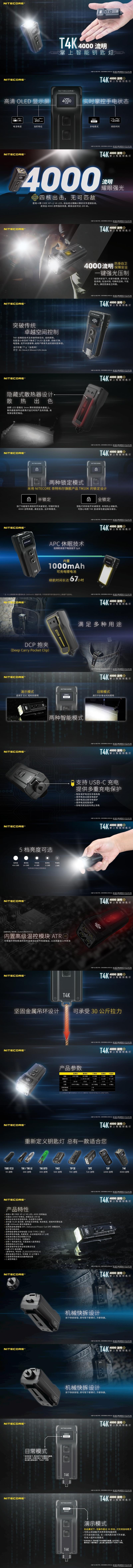 1.錸特光電 台灣總代理 NITECORE T4K 4000流明  OLED 螢幕 液晶顯示 EDC 手電筒 USB充電 Type C 手電筒專賣店