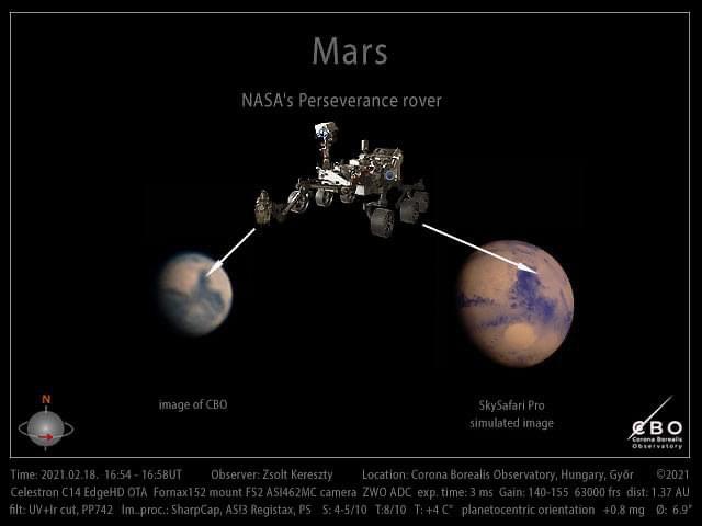 VCSE - A Mars felvétele Gyúrújbarátról (Balra), szimulált képe (jobbra) és a Perseverance marsjáró - Kereszty Zsolt kompozíciója