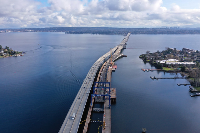 All that remains of the old SR 520 bridge - 02/08/2021