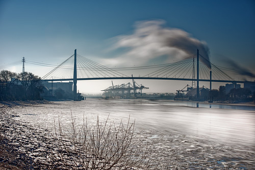 nopeople bridge view blue longexposure outdoors river sky harbour sigma70200f28dgoshsm cold ice water hamburg day architecture