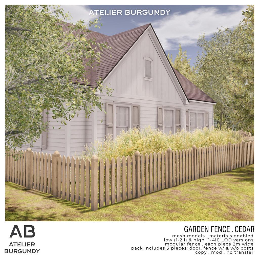 Atelier Burgundy . Garden Fence Cedar
