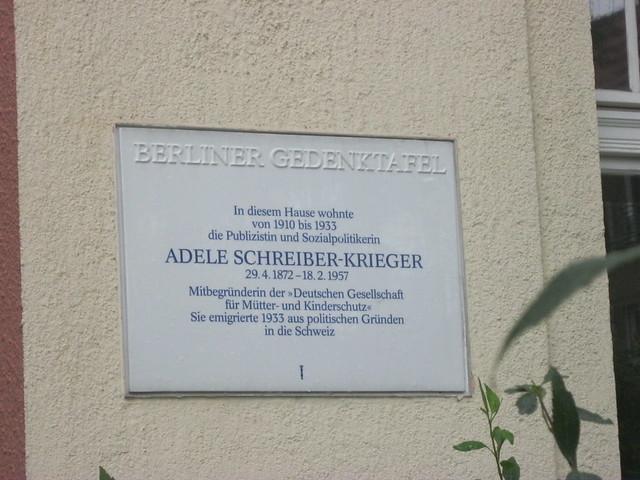 1995 Berlin Berliner Gedenktafel Adele Schreiber-Krieger (1872-1957) wohnhaft 1910-1933 Ahornallee 50 in 14050 Westend