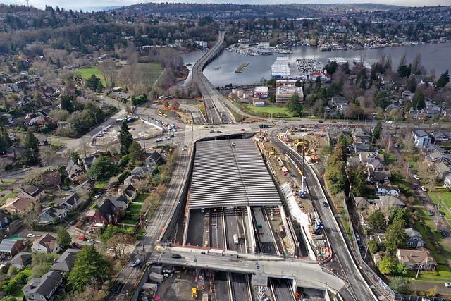 Aerial view of Montlake lid girders - 02/08/2021