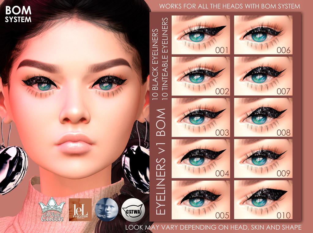 Bom Eyeliner v1 – Black & Tinteable – White Queen
