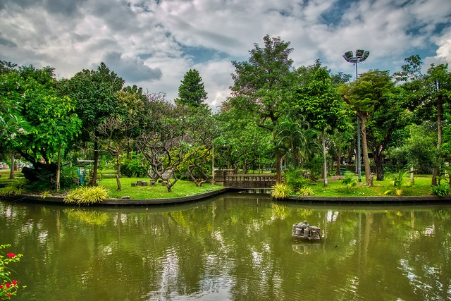Lake in Saranrom Palace Park on Rattanakosin island (old town) in Bangkok, Thailand