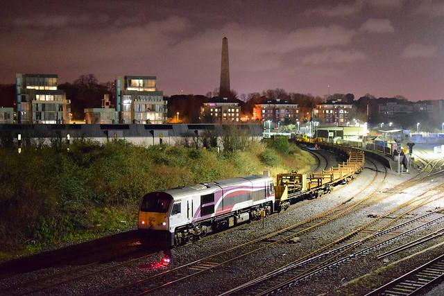 Rare movement a 201 class locomotive Enterprise 207 works a Permenant way (CWR) seen here at Islandbridge Junction. 19:02:21