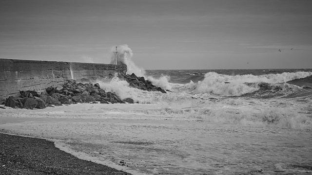 Waves Crashing at Pier
